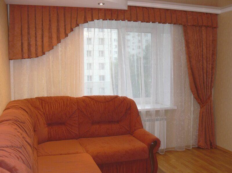 Шторы на асимметричное окно фото